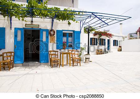 Stock Photography of outdoor cafe greek architecture lefkes paros.