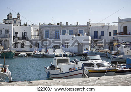 Picture of Fishing boats moored in marina in Paros, Greece 1223037.