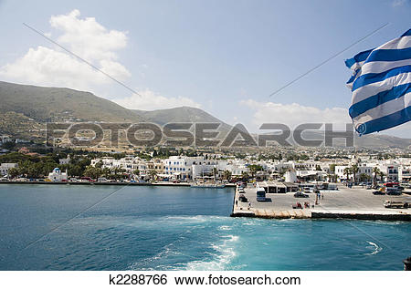 Stock Images of island view of port of parikia paros greek islands.