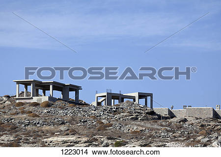 Stock Photo of Cement construction frames for houses in Paros.