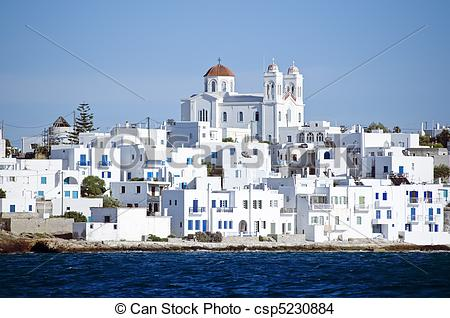Stock Photo of Island of Paros with the village of Naoussa.
