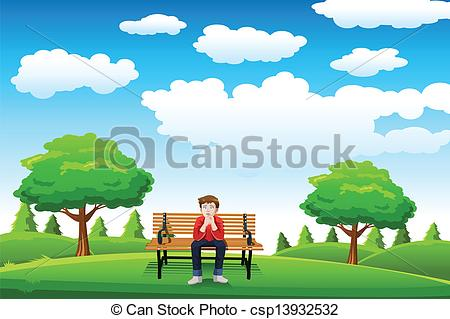 Vectors of Man sitting on the bench.