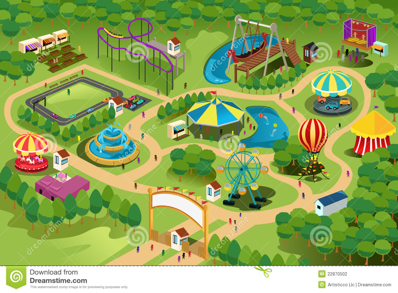 Amusement Park Clipart Map.