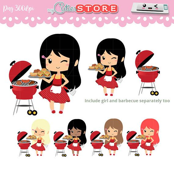 Chibi BBQ Clipart, Grill Kawaii Clipart Set for planner.