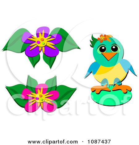 Cartoon Of A Purple Parrot Heart And Flower.