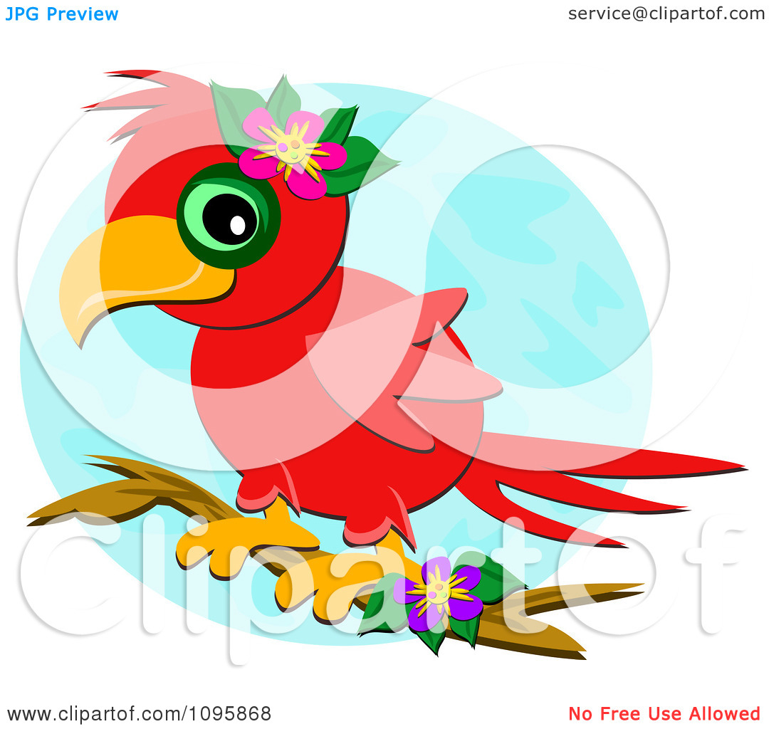 Clipart Happy Red Parrot Perched On A Branch With Flowers Over A.