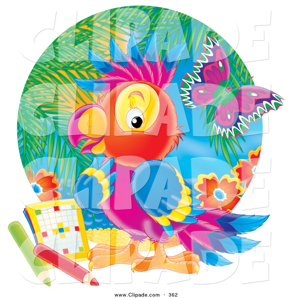 Clip Art of a Colorful Rainbow Parrot Pondering over a Word Puzzle.