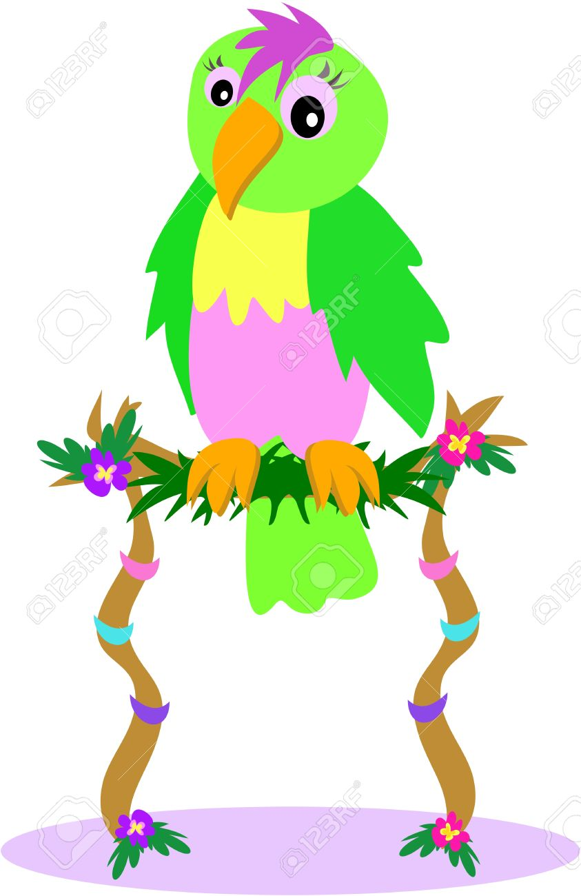 Parrot On A Flower Perch Royalty Free Cliparts, Vectors, And Stock.
