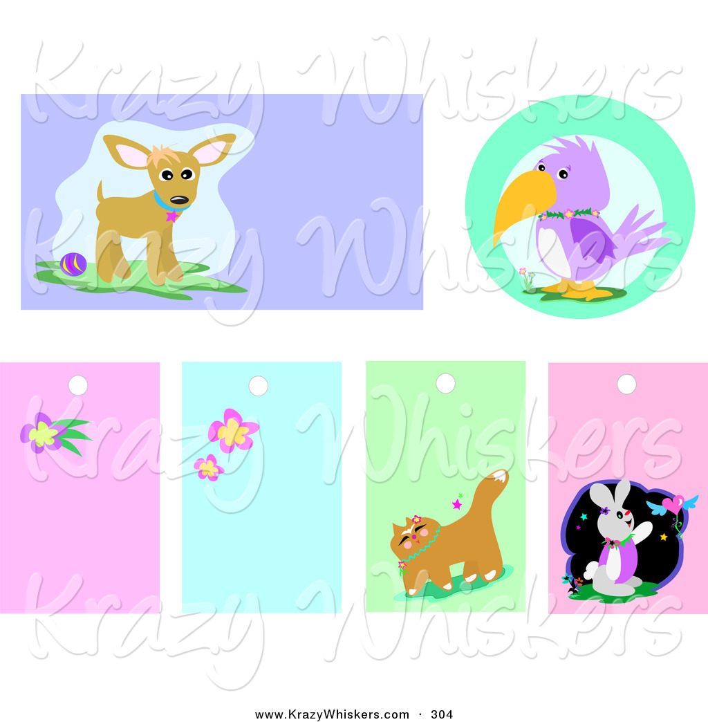 Critter Clipart of a Set of Chihuahua, Parrot, Flower, Cat and.