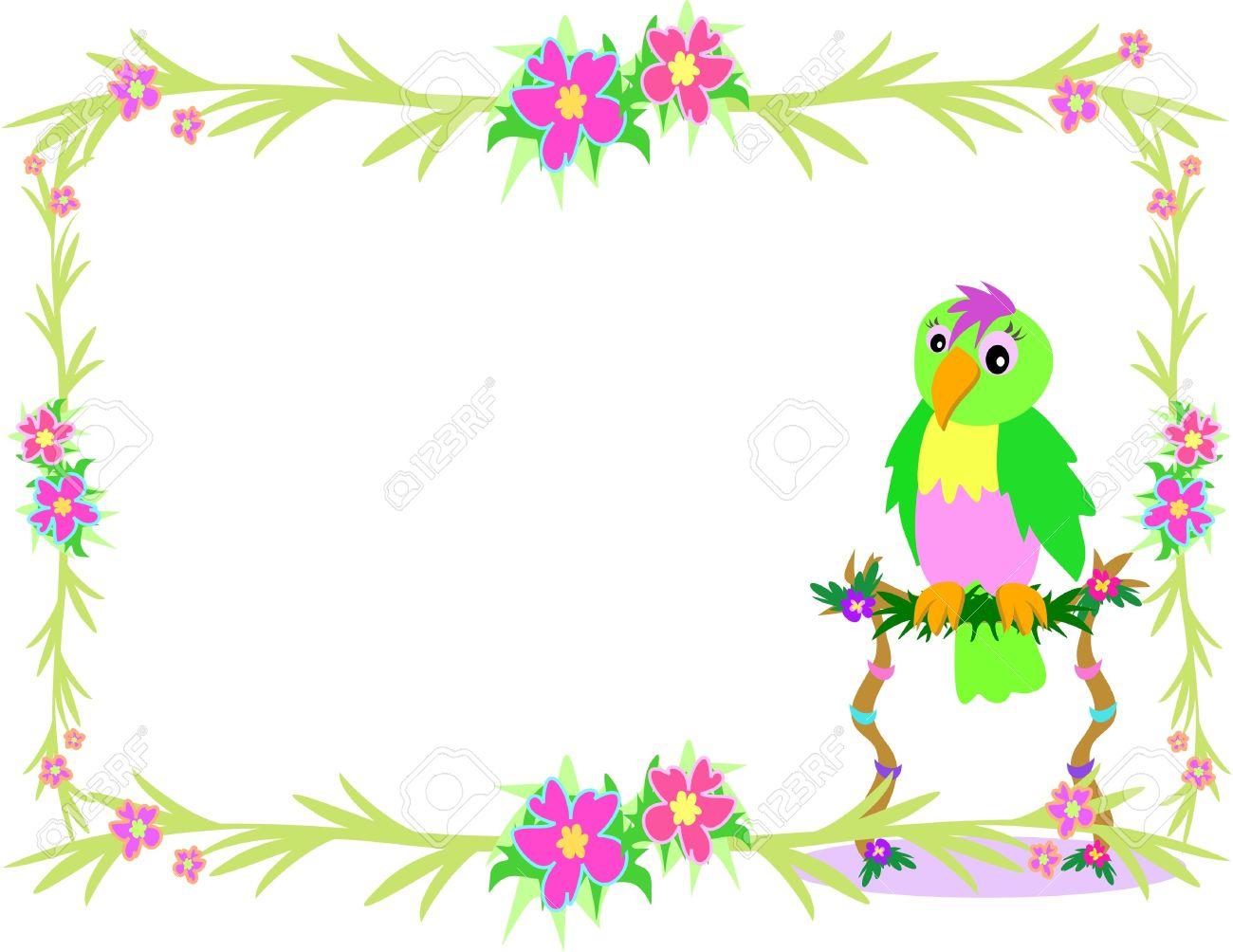 Tropical Parrot Border Clipart.