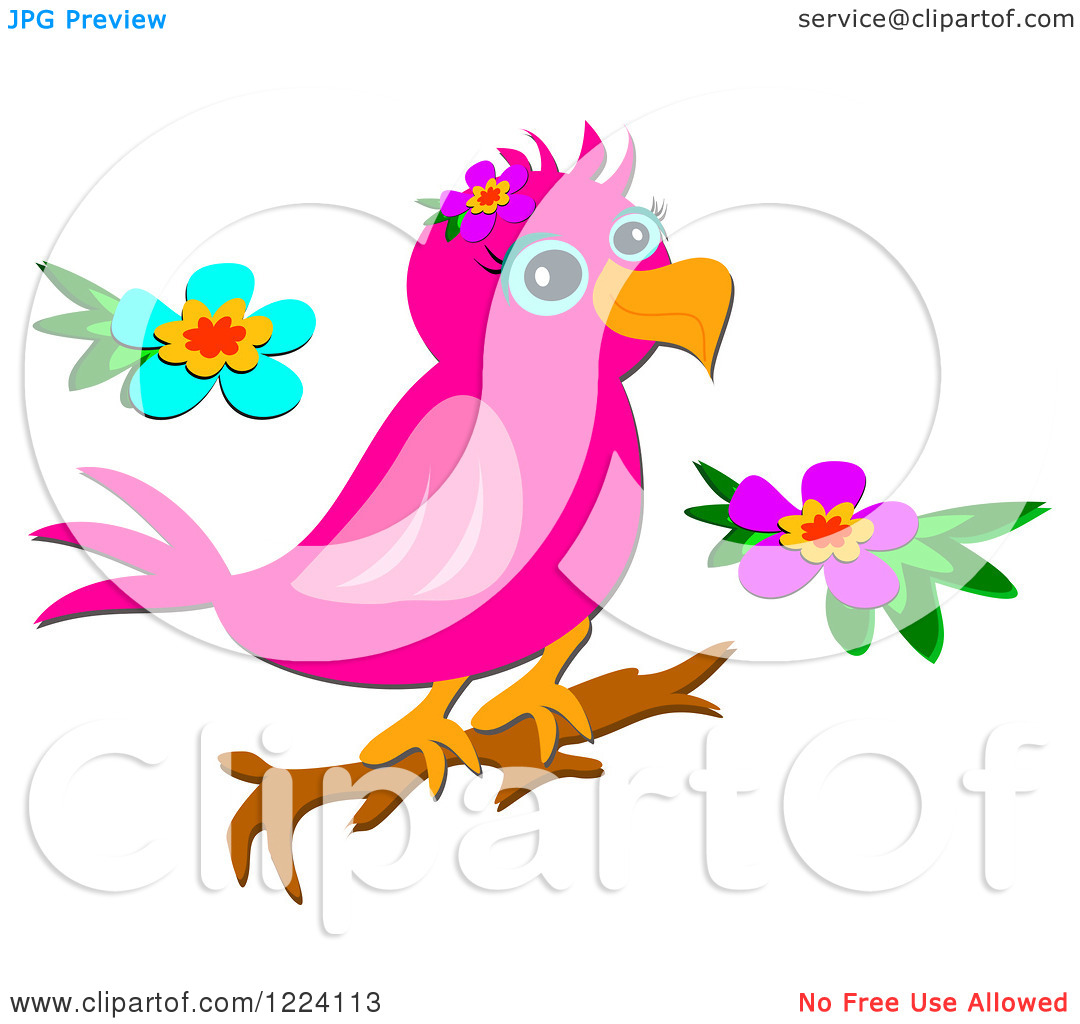 Clipart of a Pink Parrot on a Branch, with Two Flowers.