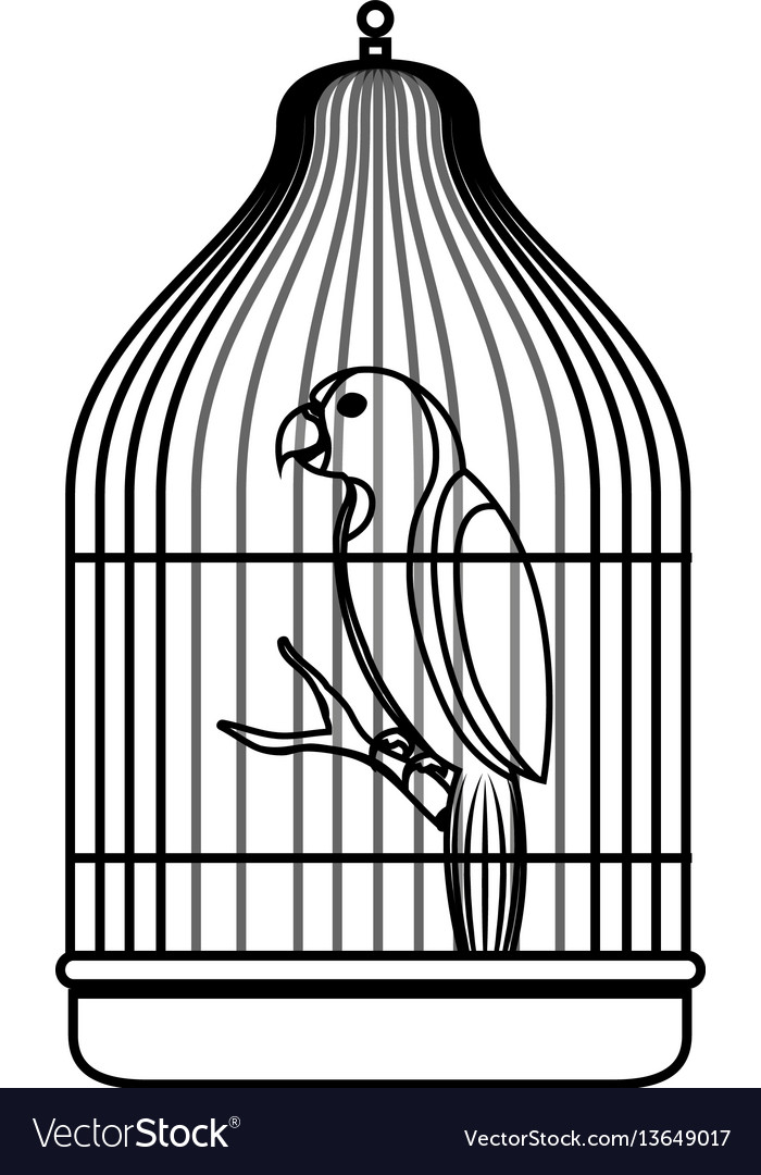 Cute bird parrot in cage mascot.