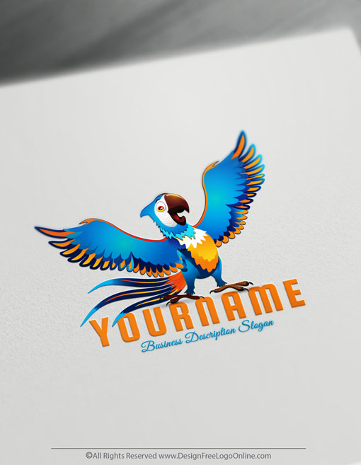 Make your own colorful Parrot logo design for free.