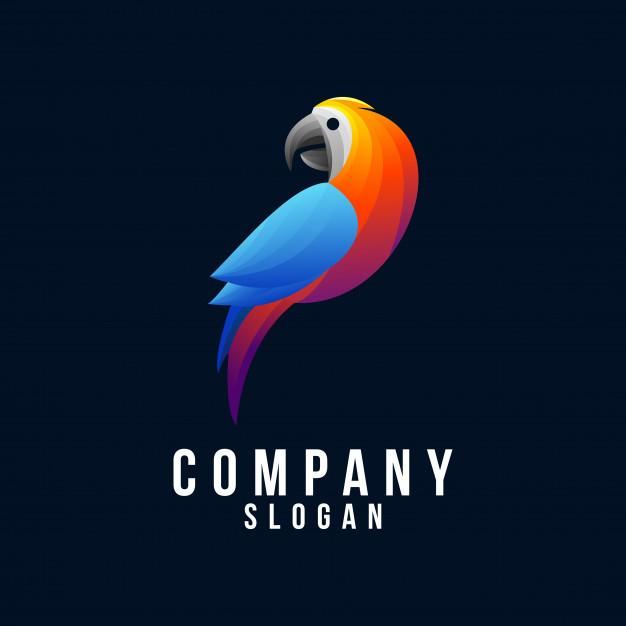 Parrot 3d logo design Vector.