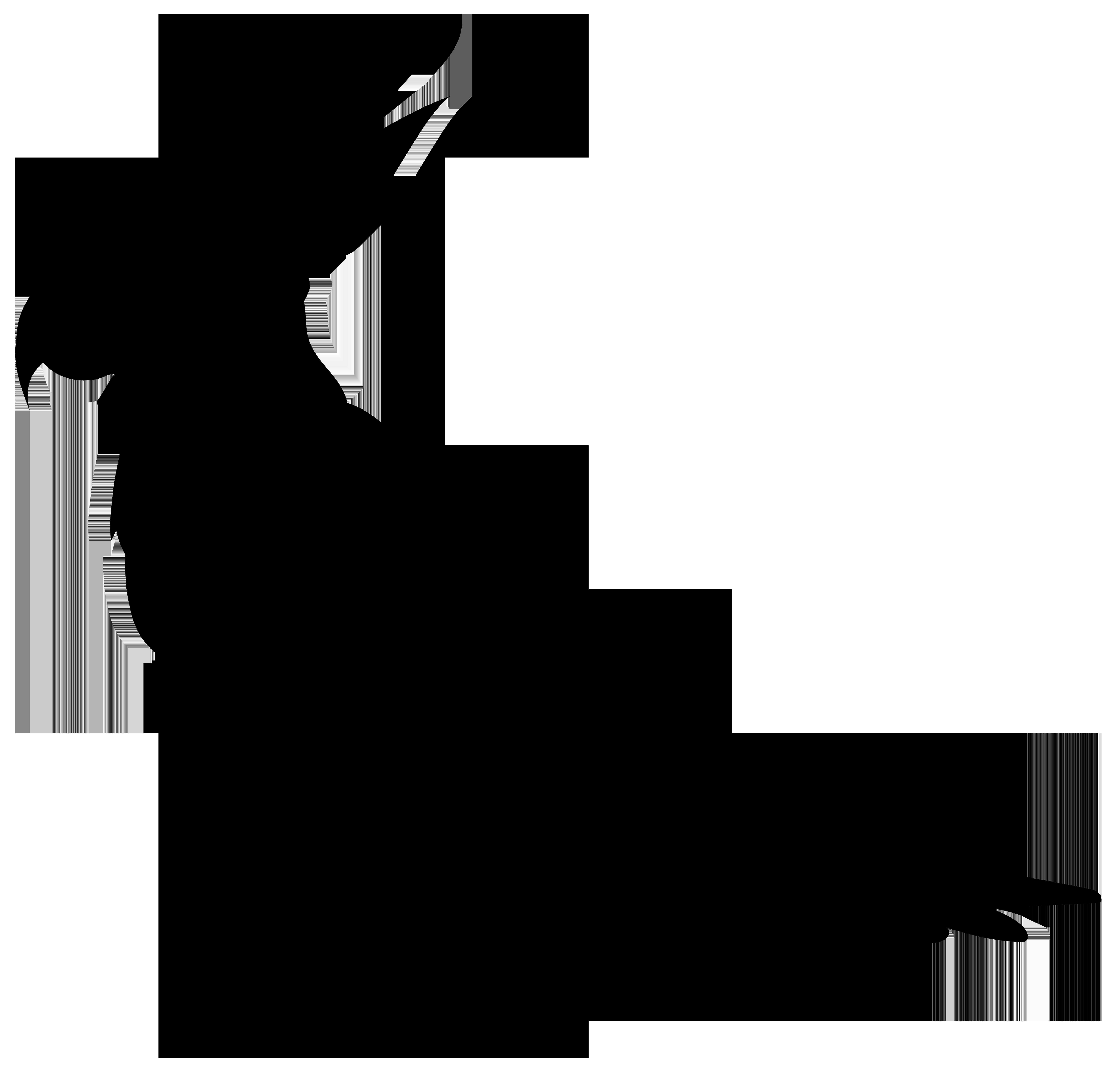 Parrot Silhouette PNG Transparent Clip Art Image.