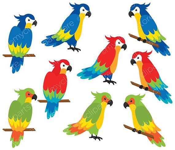 Parrots Clipart, Tropical Birds, Palm Leaves, Beach.