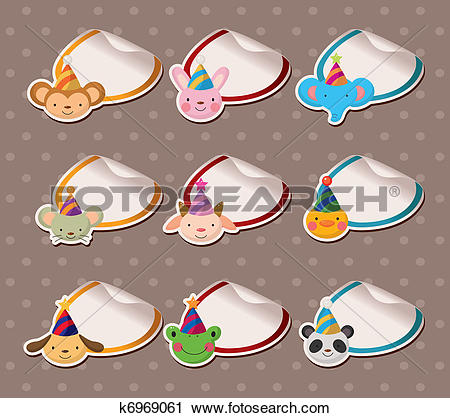 Clipart of Parry animal head Sticker Labels k6969061.