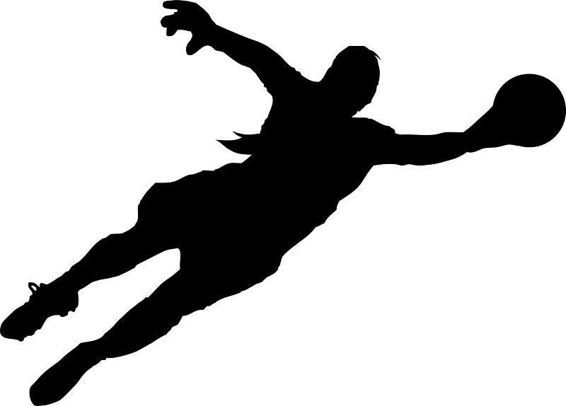Soccer goalie dive clipart.