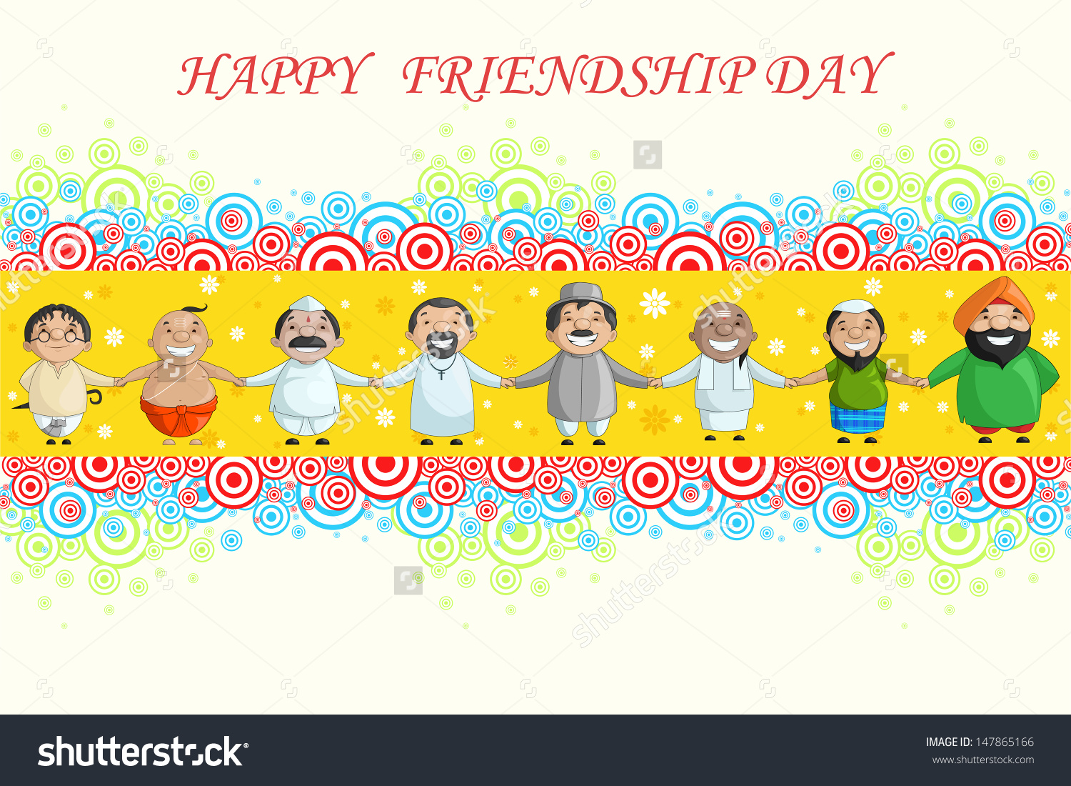 Vector Illustration Of Multiracial People Wishing Happy Friendship.