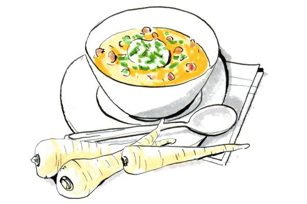 Dinner tonight: Curried parsnip soup with bacon croutons.