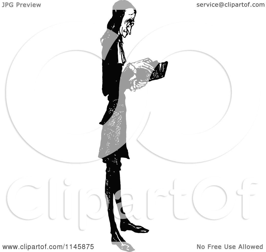Clipart of a Retro Vintage Black and White Skinny Parson Reading.