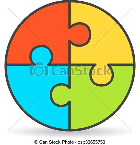 Clipart Vector of Four part process puzzle diagram isolated on.