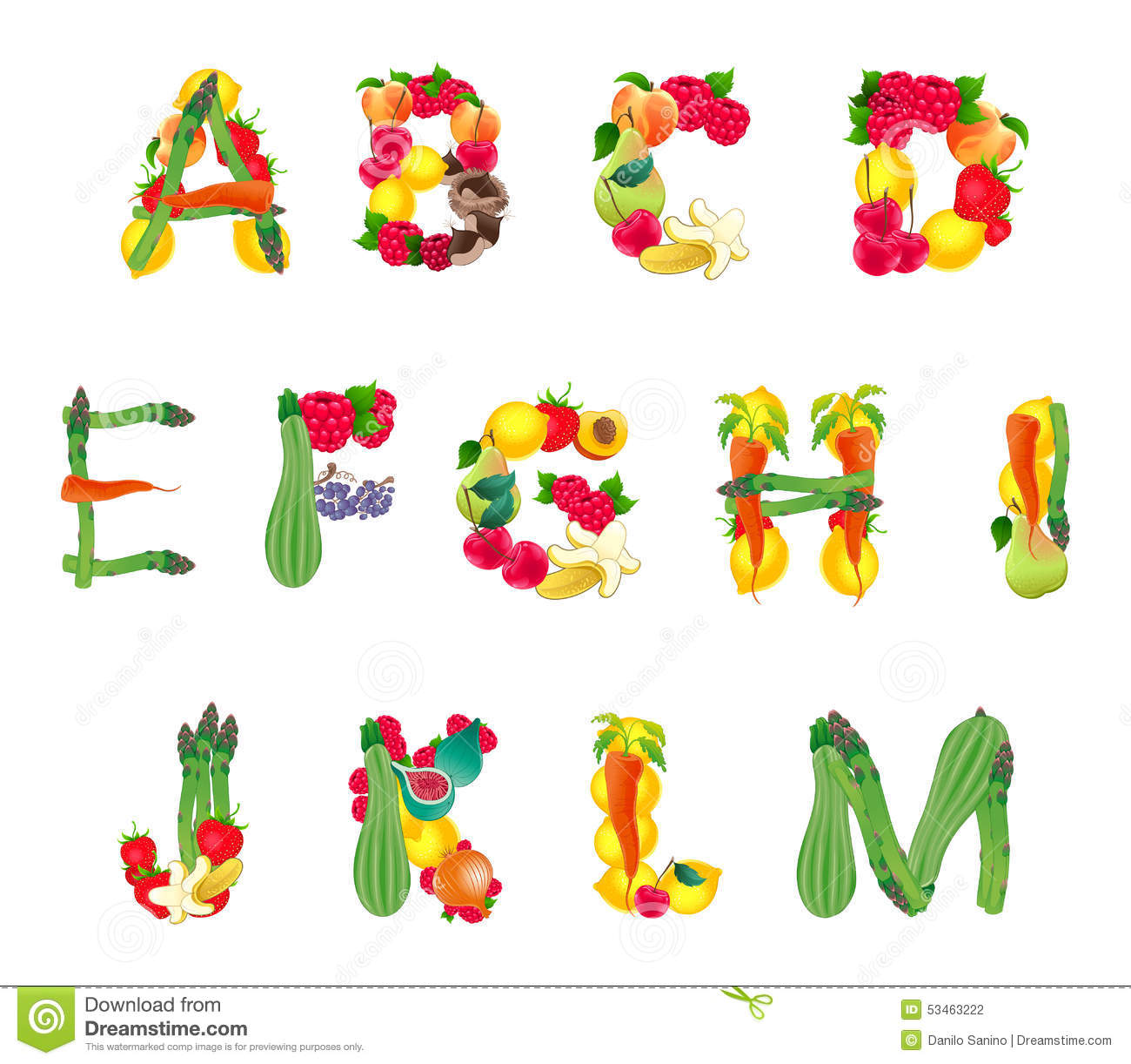 Alphabet Composed By Fruits And Vegetables, First Part Stock.