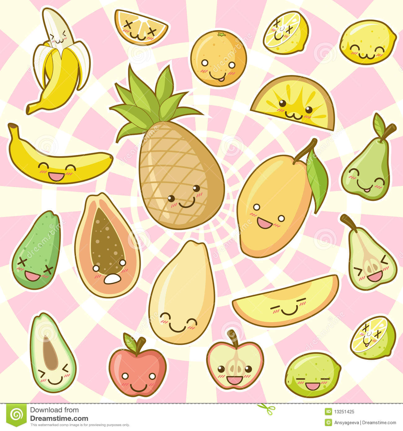 Food Kawaii Set (part 1): Fruits Royalty Free Stock Photo.