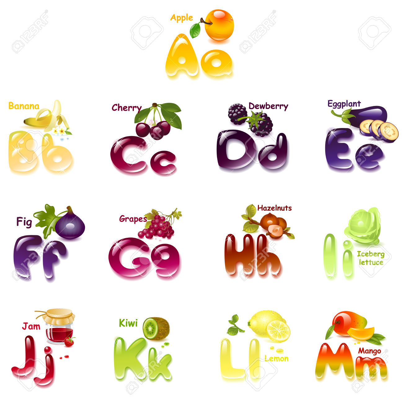 Alphabet. English Capital And Uppercase Letter With Fruits.