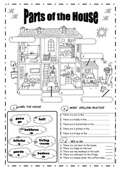 Cube with the parts of the house worksheet.