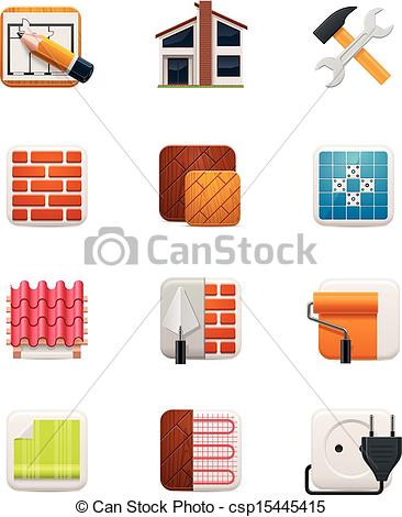 Vector Clip Art of House renovation icon set. Part 1.