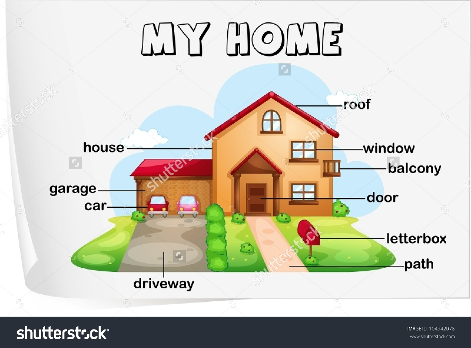 Illustration Parts House Stock Vector 104942078.