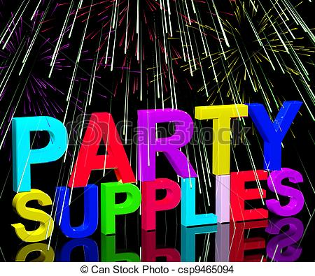 Drawing of Party Supplies Words Showing Birthday Or Anniversary.