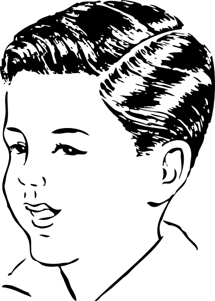 Black Parted Hair Boy Clipart.