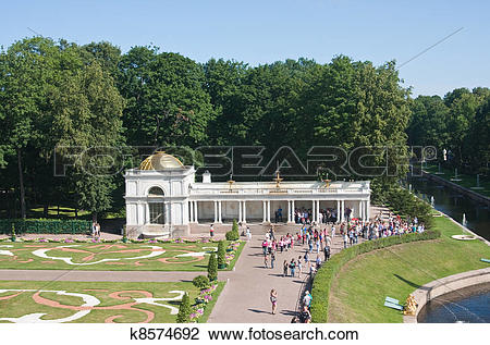Stock Photo of Peterhof. Lower Park. Channel, and the flower.