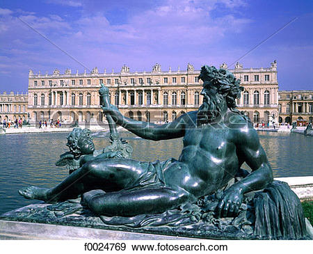 Stock Photograph of France, Versailles, Parterre d'Eau in the.