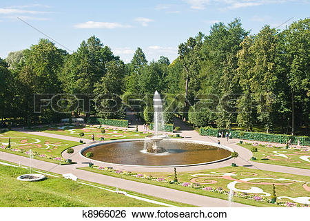 """Stock Images of Peterhof. Lower Park. Fountain """"Bowl"""" parterre."""
