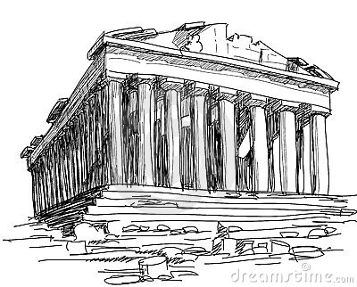 Columns Parthenon Stock Illustrations.