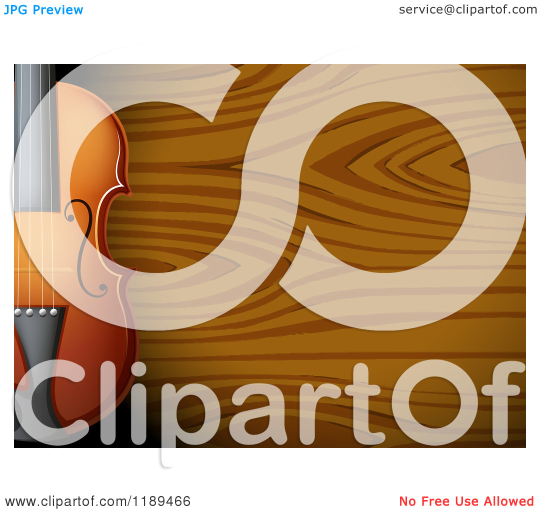 Cartoon of a Partial Violin over Wood Grain.