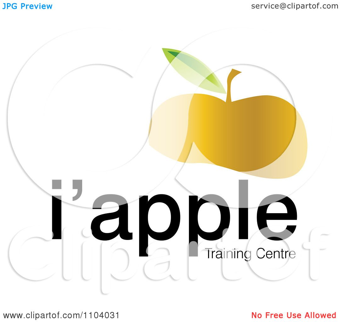 Clipart Partial Gold Apple And Sample Text On White.