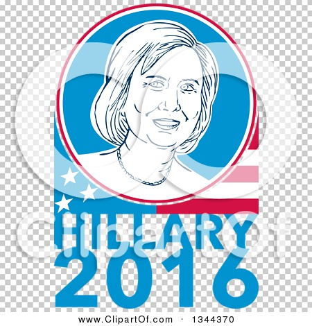 Clipart of a Retro Portrait of Hillary Clinton in a Circle over a.