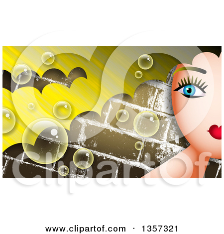 Clipart of a Partial Woman's Face with Blond Hair over Bricks with.