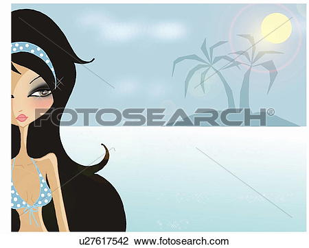 Clip Art of Partial view of woman in bikini in tropical setting.