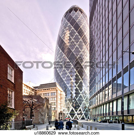 Stock Photograph of England, London, 30 St Mary Axe, Partial view.
