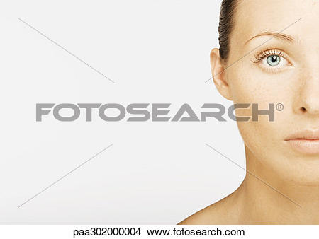 Stock Photo of Woman's face, partial view, portrait paa302000004.
