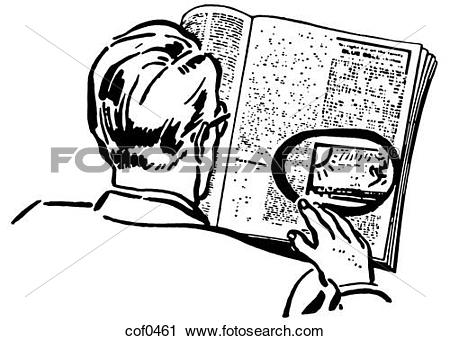 Clipart of A black and white version of a man reading a newspaper.