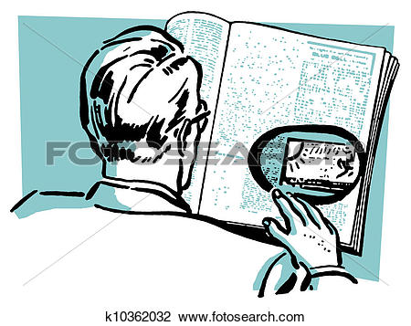 Clip Art of A man reading a newspaper with a particular.