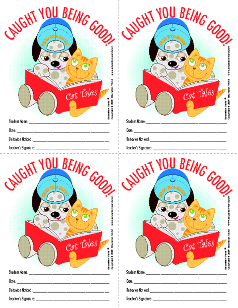 Education World: Caught You Being Good Color Student Reward Template.
