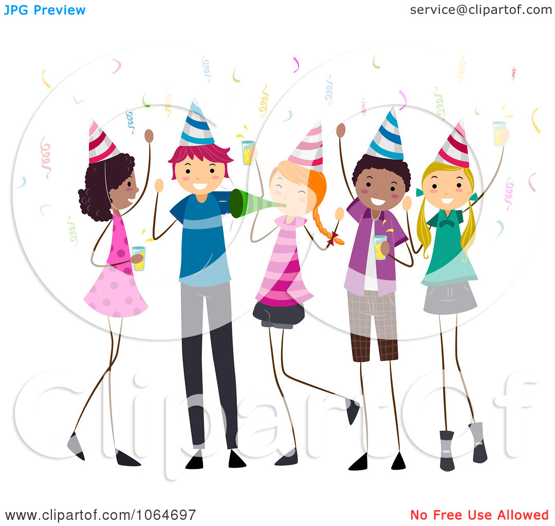 Clipart Teens At A Birthday Party.