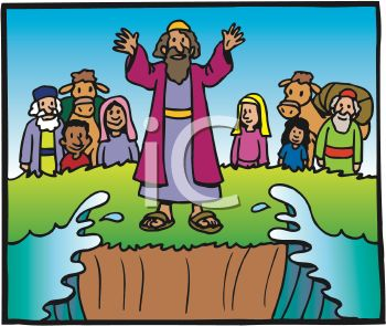 Royalty Free Clipart Image: Cartoon of Moses Parting the Sea.